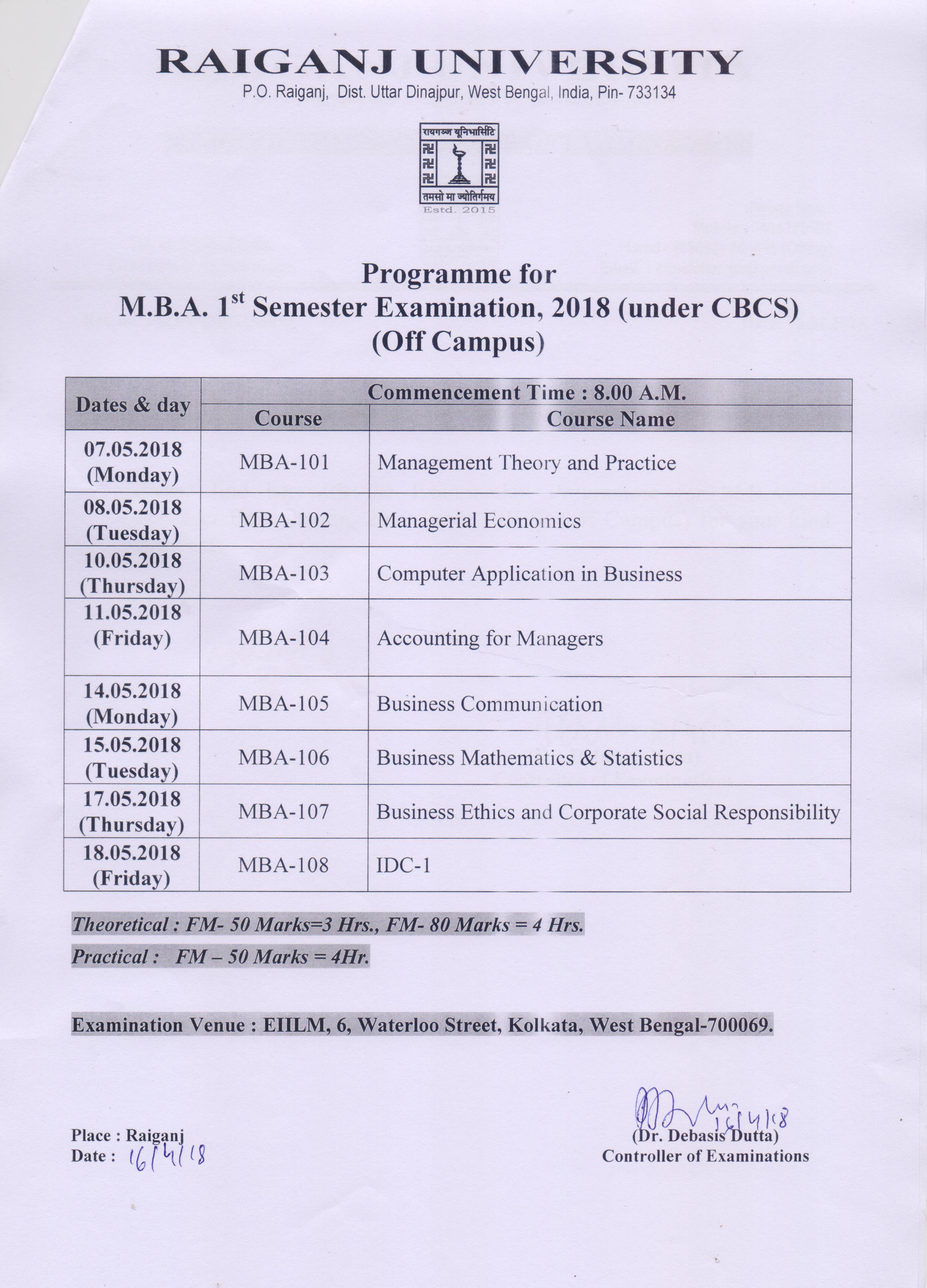 university time table 2018